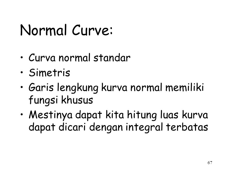 Normal Curve: Curva normal standar Simetris