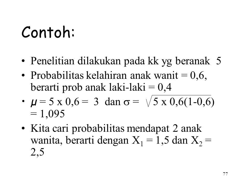 Contoh: Penelitian dilakukan pada kk yg beranak 5