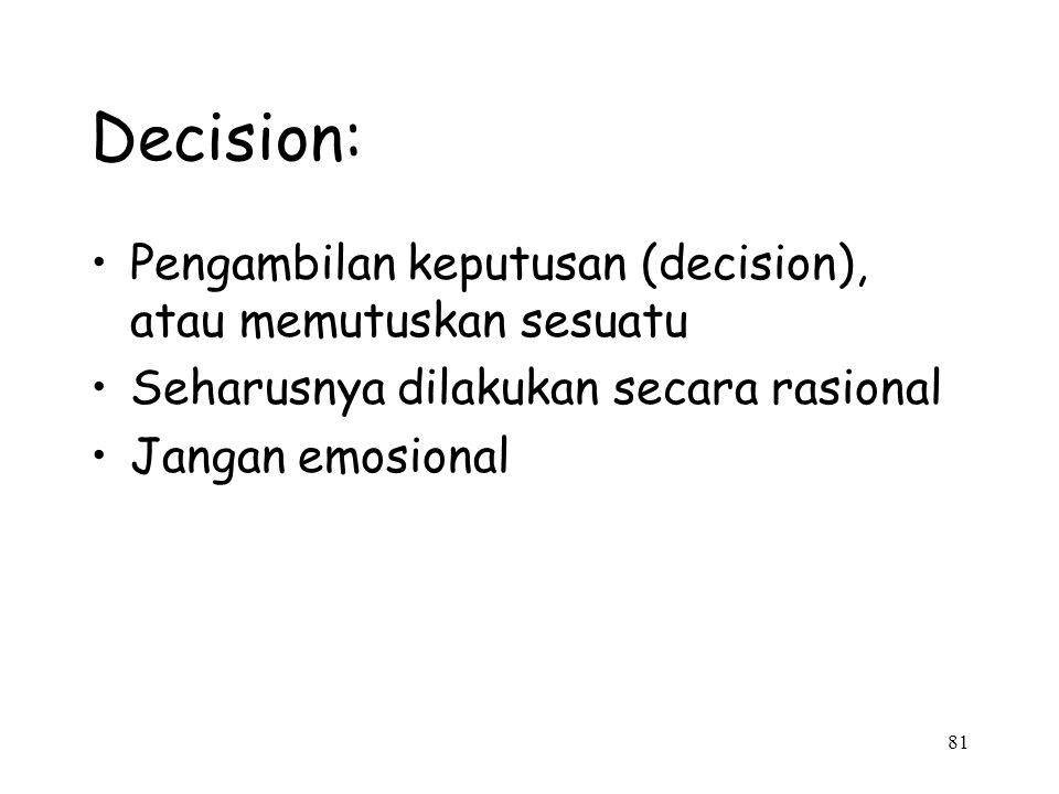 Decision: Pengambilan keputusan (decision), atau memutuskan sesuatu
