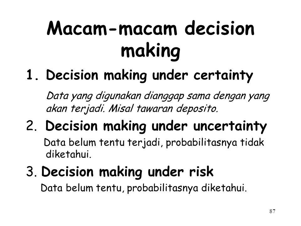Macam-macam decision making