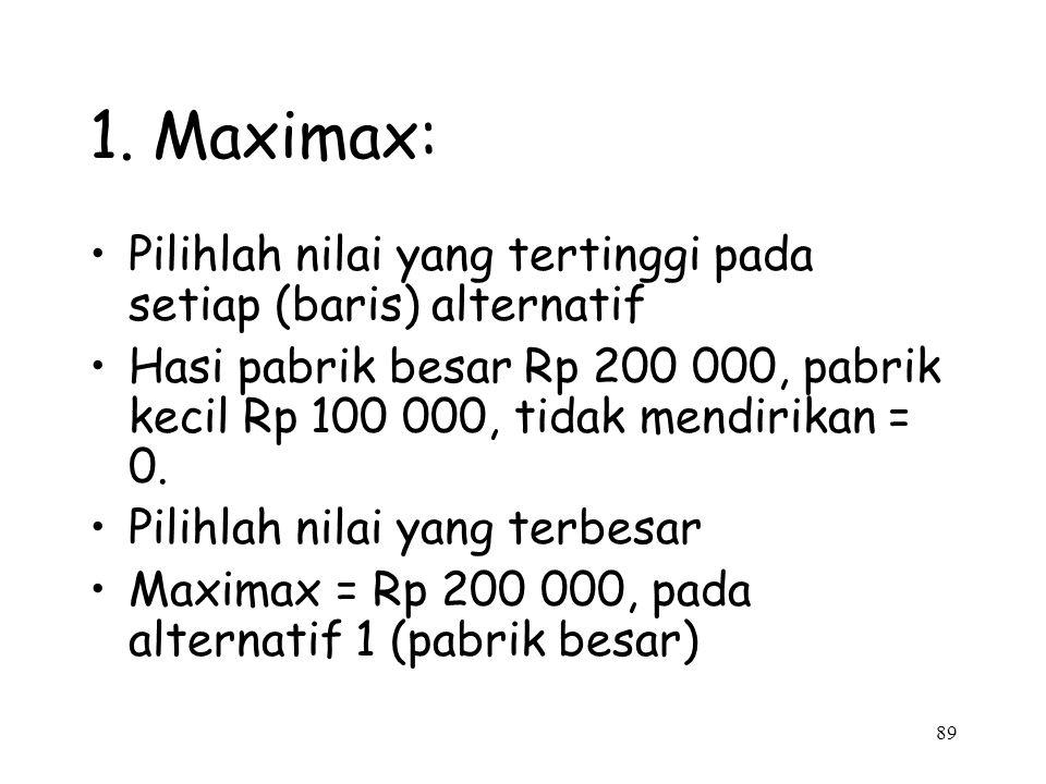 1. Maximax: Pilihlah nilai yang tertinggi pada setiap (baris) alternatif.