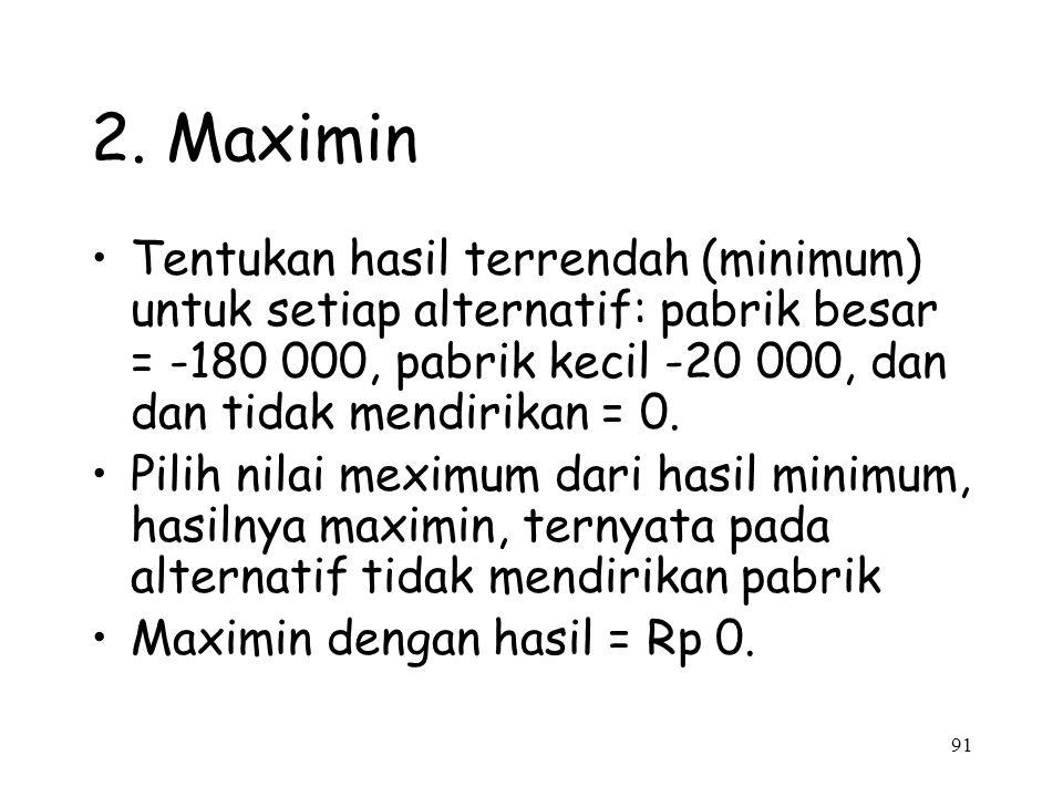 2. Maximin Tentukan hasil terrendah (minimum) untuk setiap alternatif: pabrik besar = -180 000, pabrik kecil -20 000, dan dan tidak mendirikan = 0.