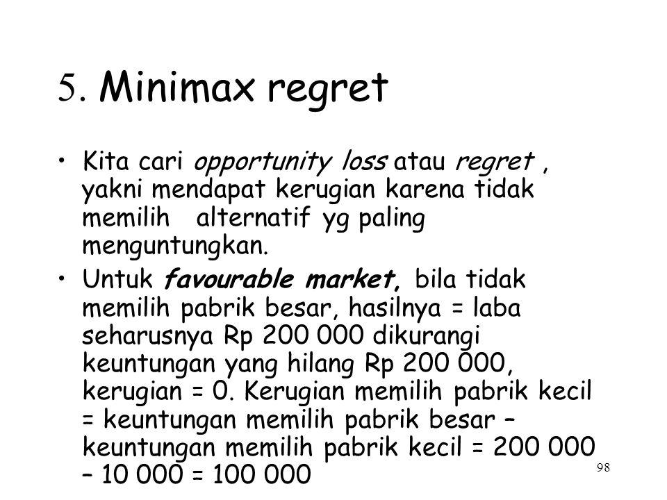 5. Minimax regret Kita cari opportunity loss atau regret , yakni mendapat kerugian karena tidak memilih alternatif yg paling menguntungkan.