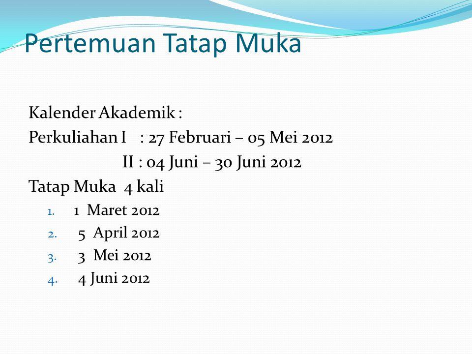 Pertemuan Tatap Muka Kalender Akademik :