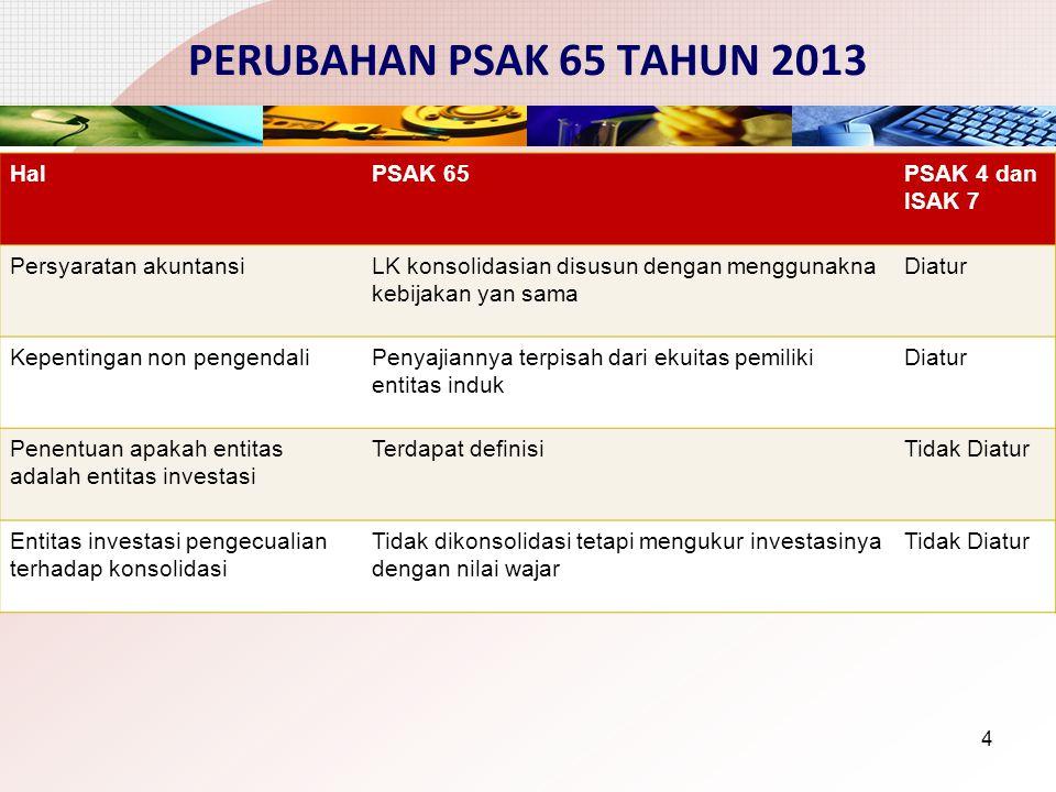 PERUBAHAN PSAK 65 TAHUN 2013 Hal PSAK 65 PSAK 4 dan ISAK 7