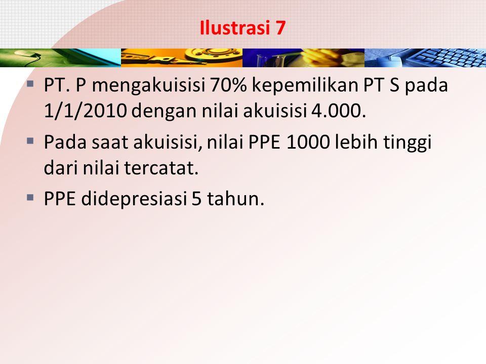 Ilustrasi 7 PT. P mengakuisisi 70% kepemilikan PT S pada 1/1/2010 dengan nilai akuisisi 4.000.