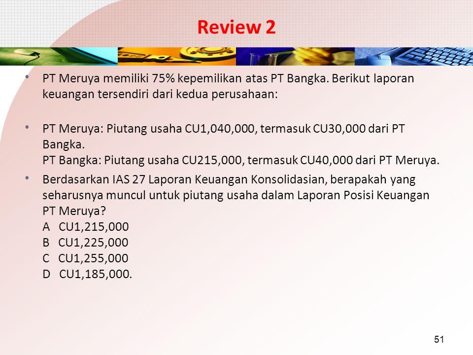 Review 2 PT Meruya memiliki 75% kepemilikan atas PT Bangka. Berikut laporan keuangan tersendiri dari kedua perusahaan: