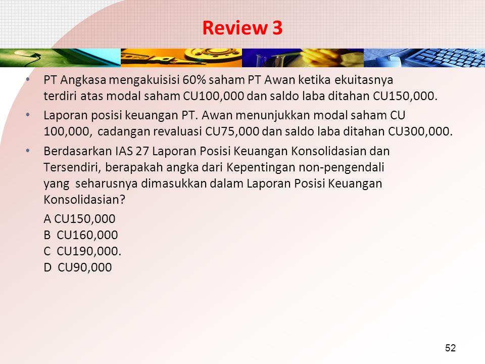 Review 3 PT Angkasa mengakuisisi 60% saham PT Awan ketika ekuitasnya terdiri atas modal saham CU100,000 dan saldo laba ditahan CU150,000.