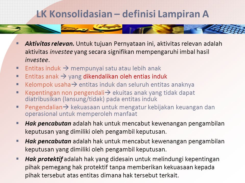 LK Konsolidasian – definisi Lampiran A