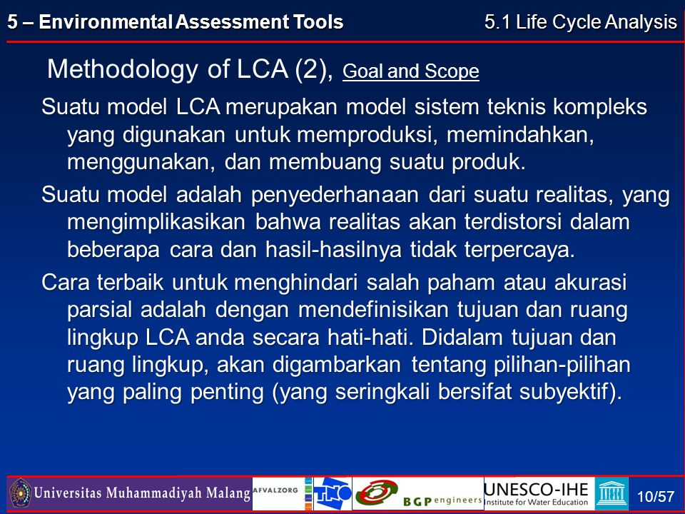Methodology of LCA (2), Goal and Scope