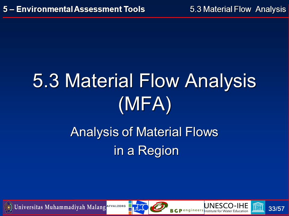 5.3 Material Flow Analysis 5.3 Material Flow Analysis (MFA)