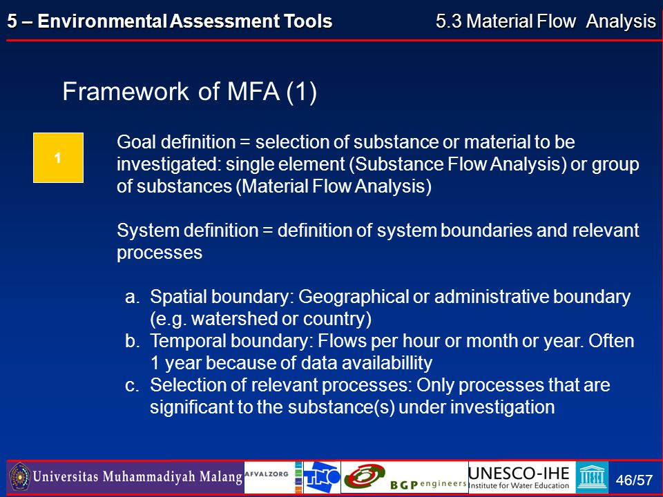 5.3 Material Flow Analysis