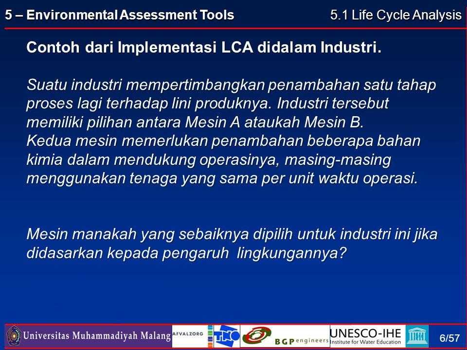 Contoh dari Implementasi LCA didalam Industri.