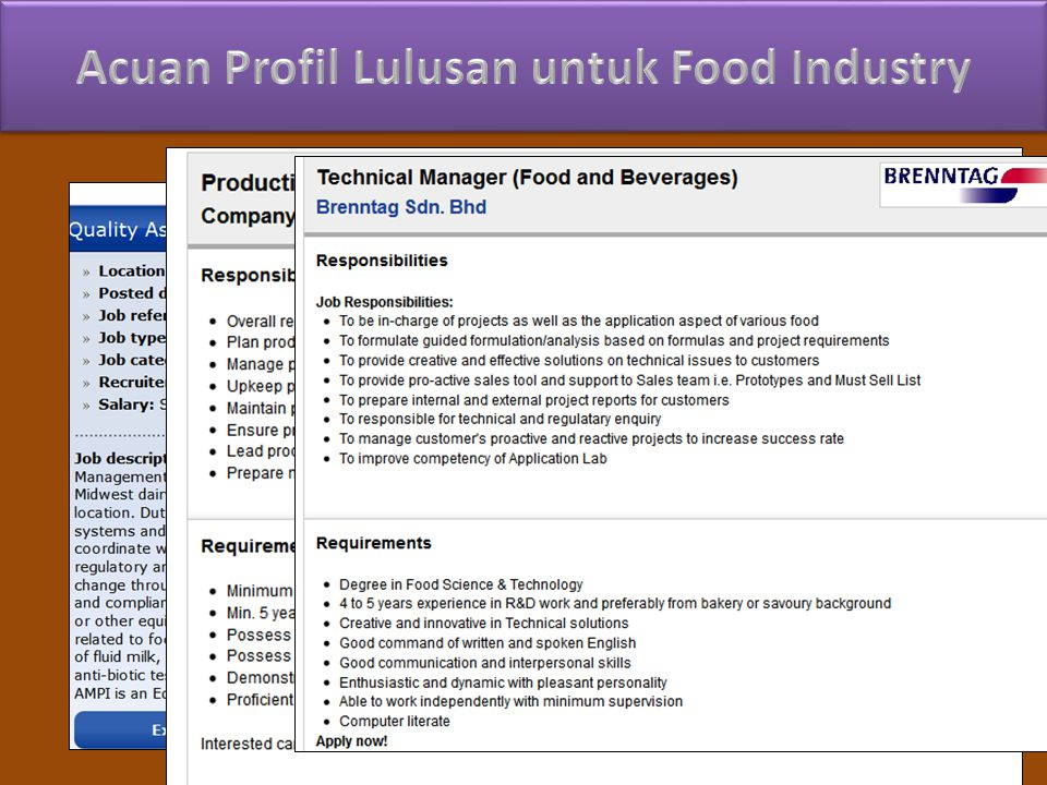 Acuan Profil Lulusan untuk Food Industry