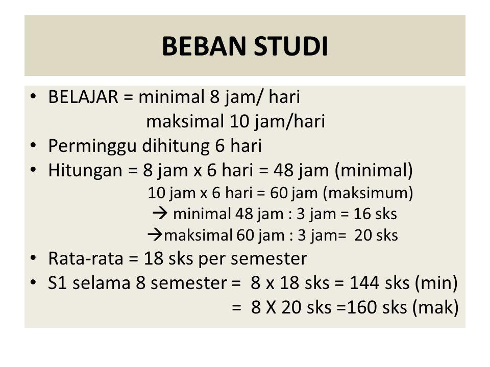 BEBAN STUDI BELAJAR = minimal 8 jam/ hari maksimal 10 jam/hari
