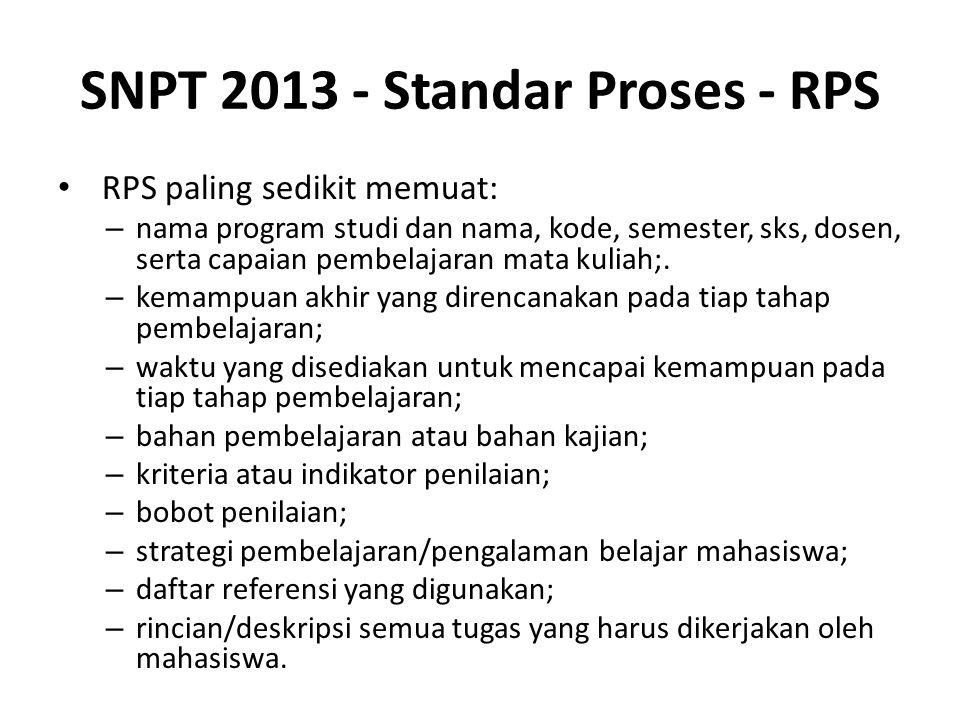 SNPT 2013 - Standar Proses - RPS