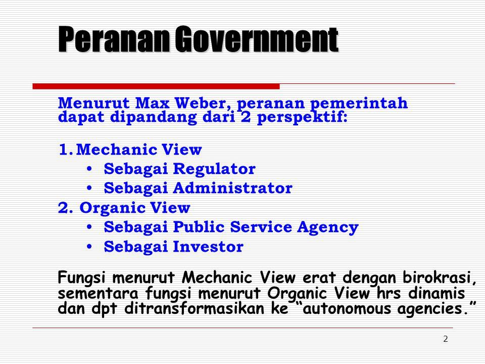 Peranan Government Menurut Max Weber, peranan pemerintah