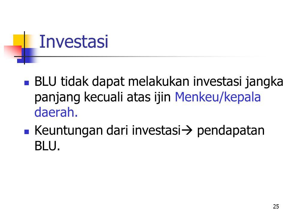 Investasi BLU tidak dapat melakukan investasi jangka panjang kecuali atas ijin Menkeu/kepala daerah.