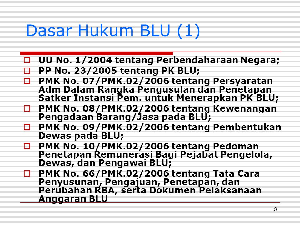 Dasar Hukum BLU (1) UU No. 1/2004 tentang Perbendaharaan Negara;