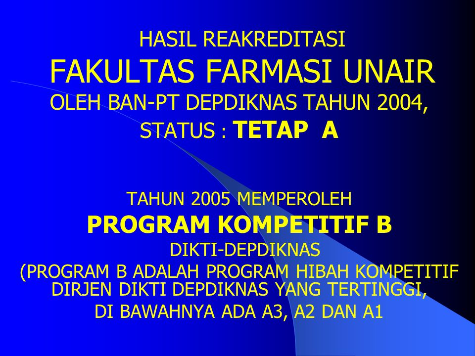 PROGRAM KOMPETITIF B HASIL REAKREDITASI FAKULTAS FARMASI UNAIR