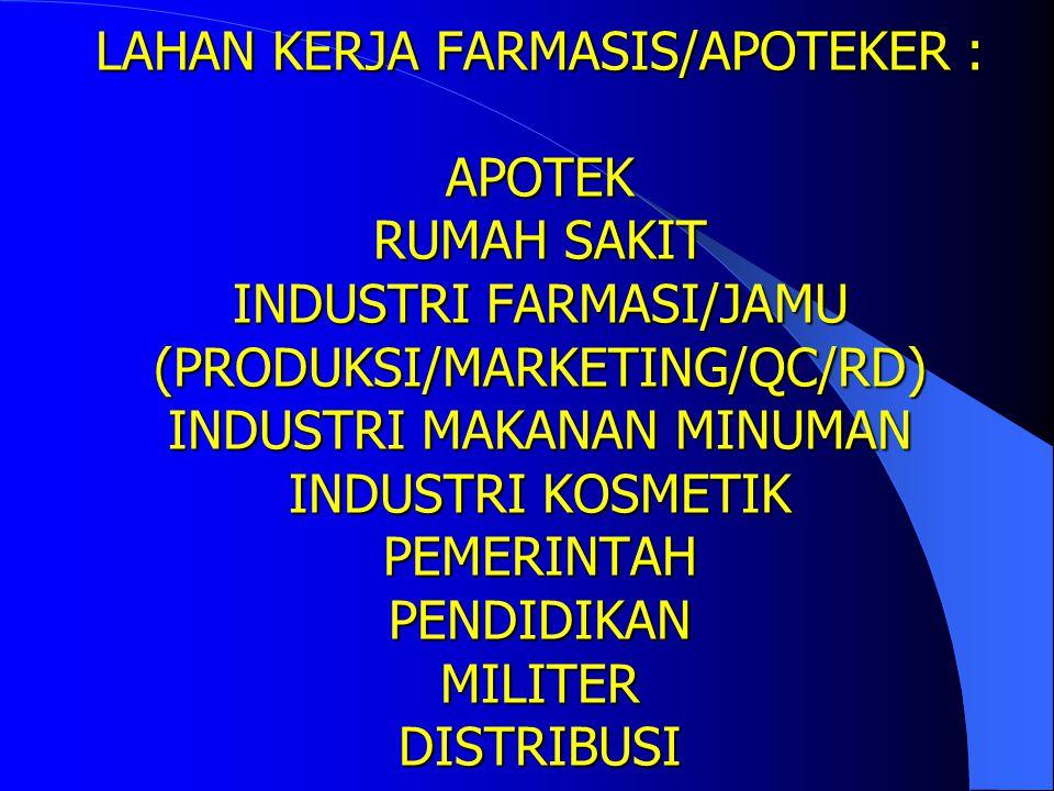 LAHAN KERJA FARMASIS/APOTEKER : APOTEK RUMAH SAKIT INDUSTRI FARMASI/JAMU (PRODUKSI/MARKETING/QC/RD) INDUSTRI MAKANAN MINUMAN INDUSTRI KOSMETIK PEMERINTAH PENDIDIKAN MILITER DISTRIBUSI