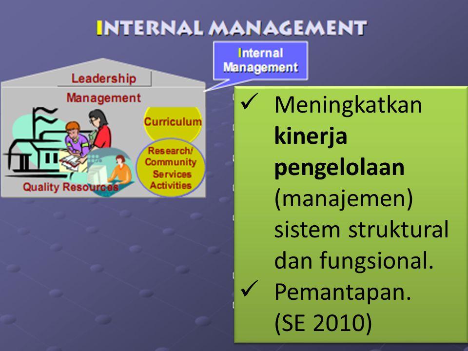 Meningkatkan kinerja pengelolaan (manajemen) sistem struktural dan fungsional.