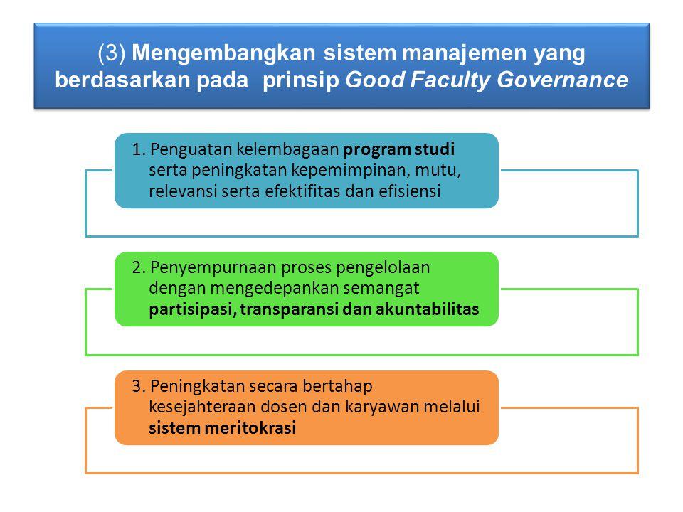 (3) Mengembangkan sistem manajemen yang berdasarkan pada prinsip Good Faculty Governance