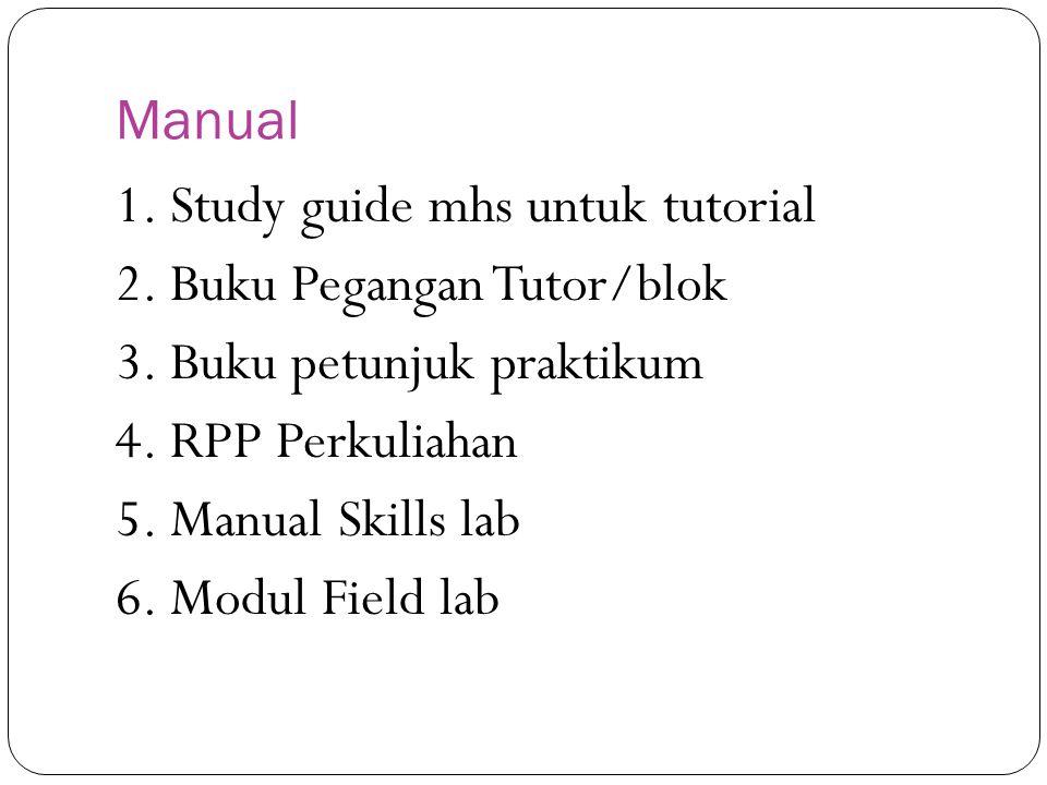 Manual 1. Study guide mhs untuk tutorial. 2. Buku Pegangan Tutor/blok. 3. Buku petunjuk praktikum.