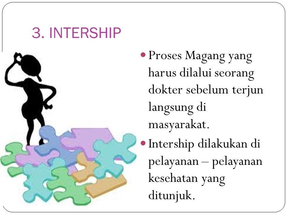 3. INTERSHIP Proses Magang yang harus dilalui seorang dokter sebelum terjun langsung di masyarakat.