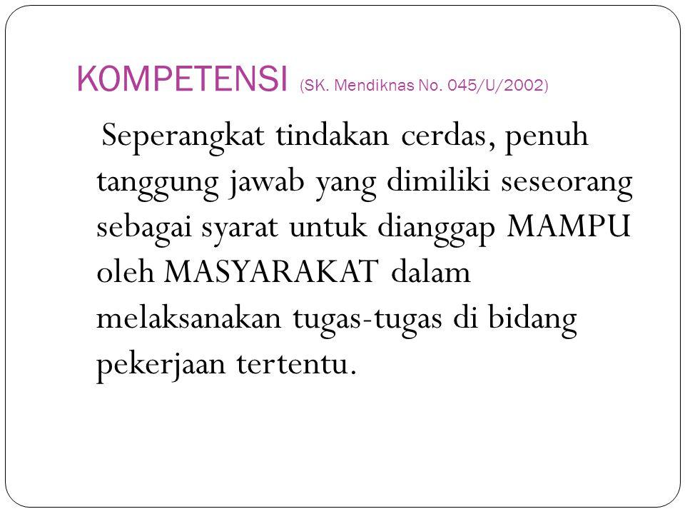 KOMPETENSI (SK. Mendiknas No. 045/U/2002)