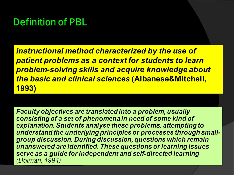 Definition of PBL