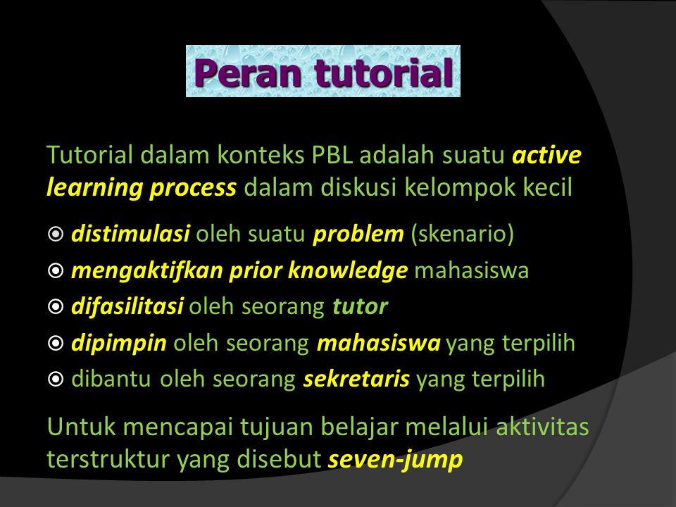 Peran tutorial Tutorial dalam konteks PBL adalah suatu active learning process dalam diskusi kelompok kecil.