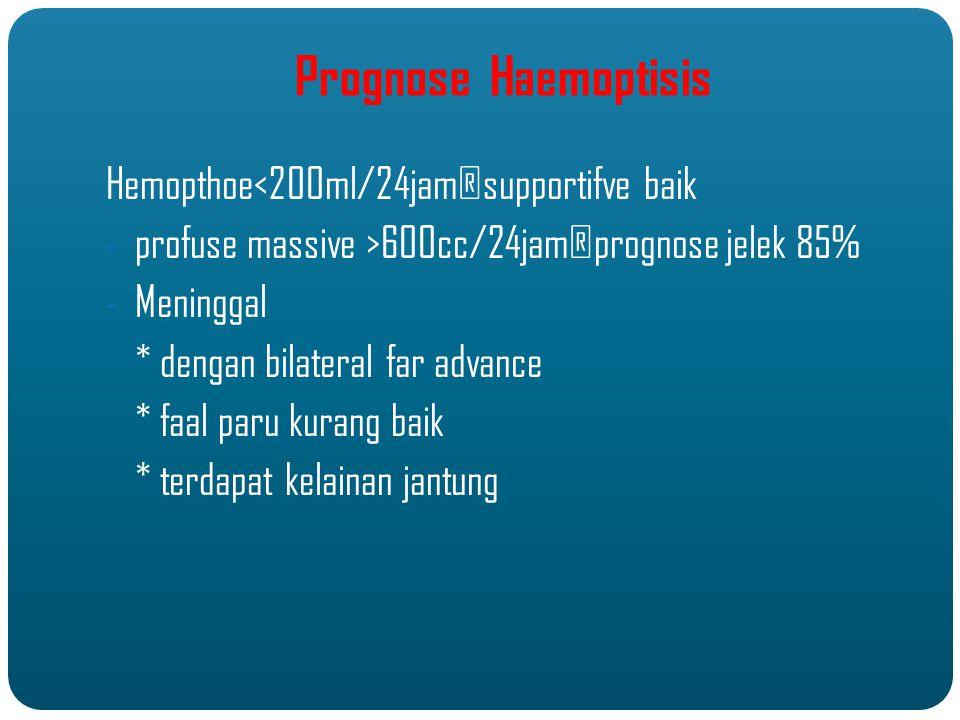Prognose Haemoptisis Hemopthoe<200ml/24jam®supportifve baik