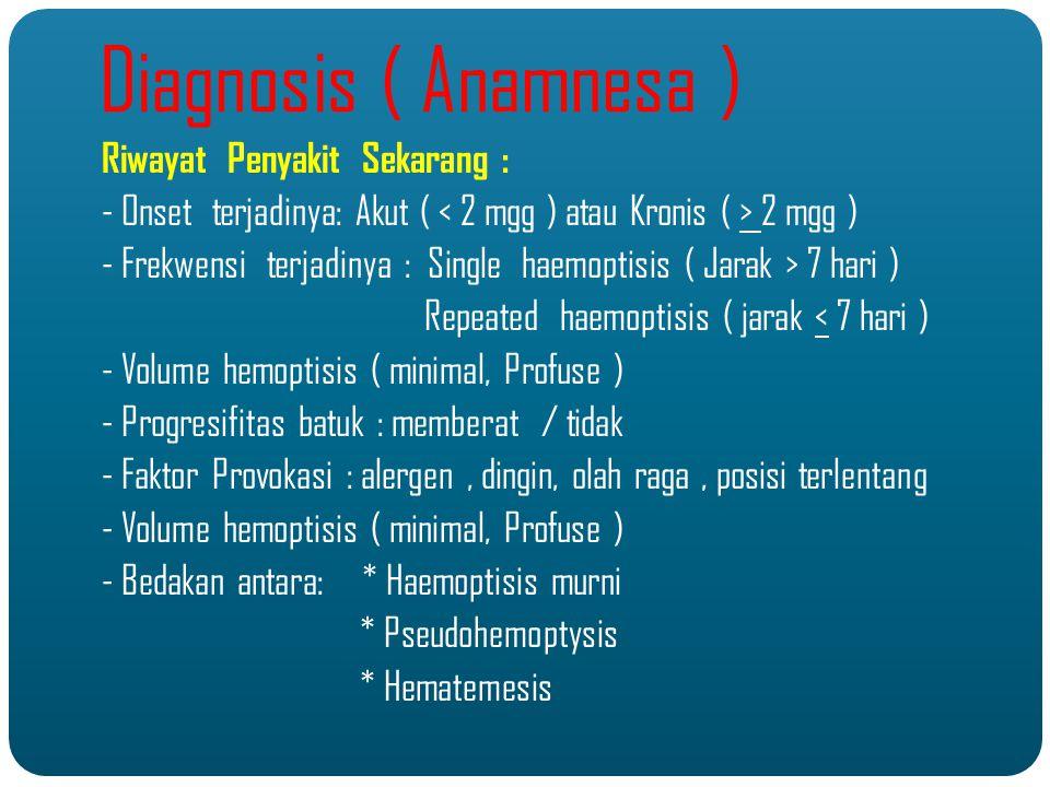 Diagnosis ( Anamnesa ) Riwayat Penyakit Sekarang :