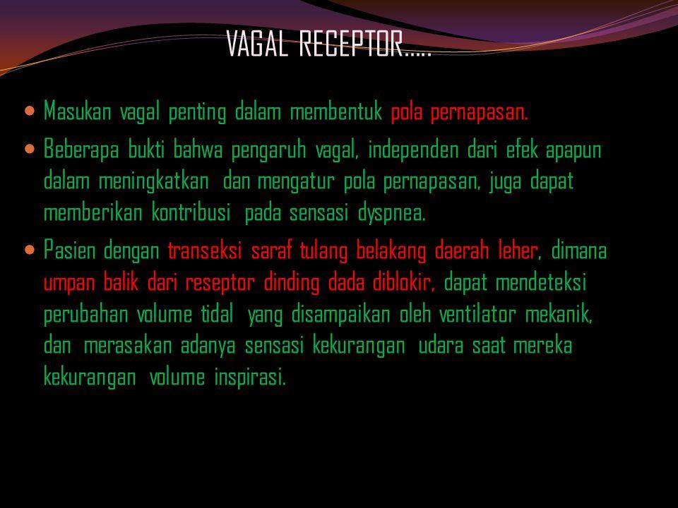 VAGAL RECEPTOR….. Masukan vagal penting dalam membentuk pola pernapasan.