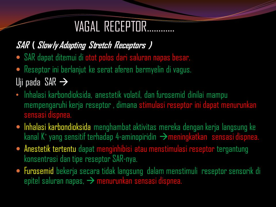 VAGAL RECEPTOR………… Uji pada SAR 