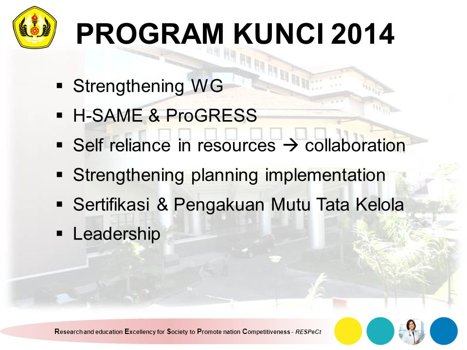 PROGRAM KUNCI 2014 Strengthening WG H-SAME & ProGRESS