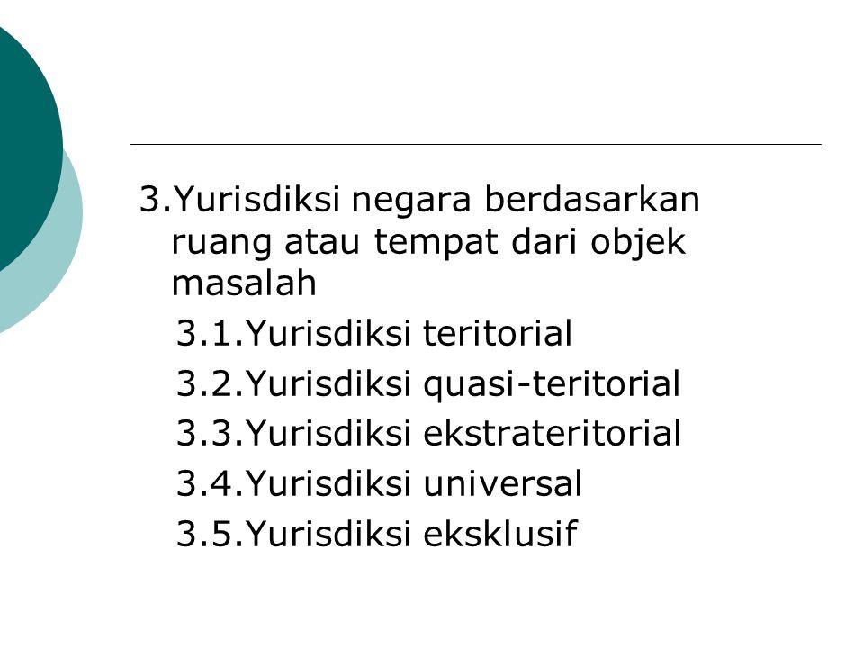 3.Yurisdiksi negara berdasarkan ruang atau tempat dari objek masalah