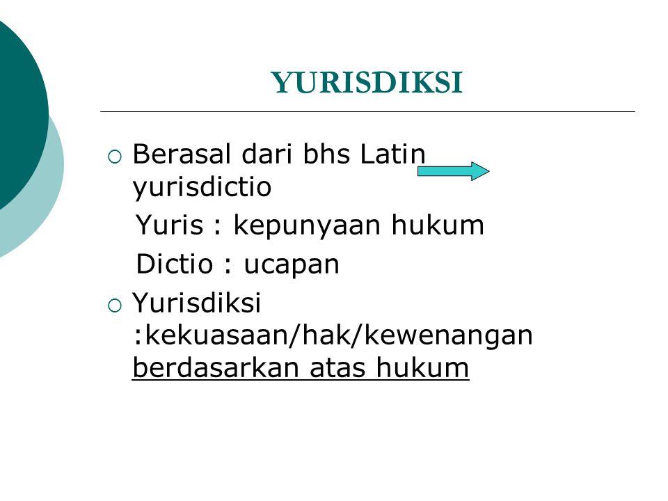 YURISDIKSI Berasal dari bhs Latin yurisdictio Yuris : kepunyaan hukum