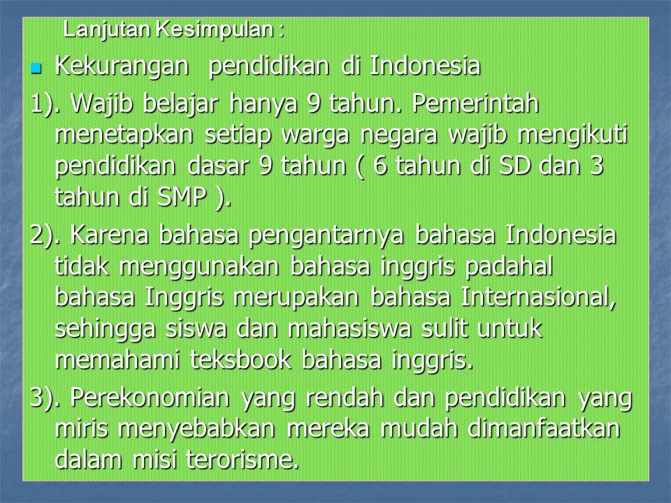 Kekurangan pendidikan di Indonesia