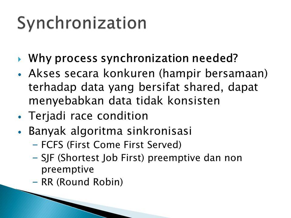 Synchronization Why process synchronization needed