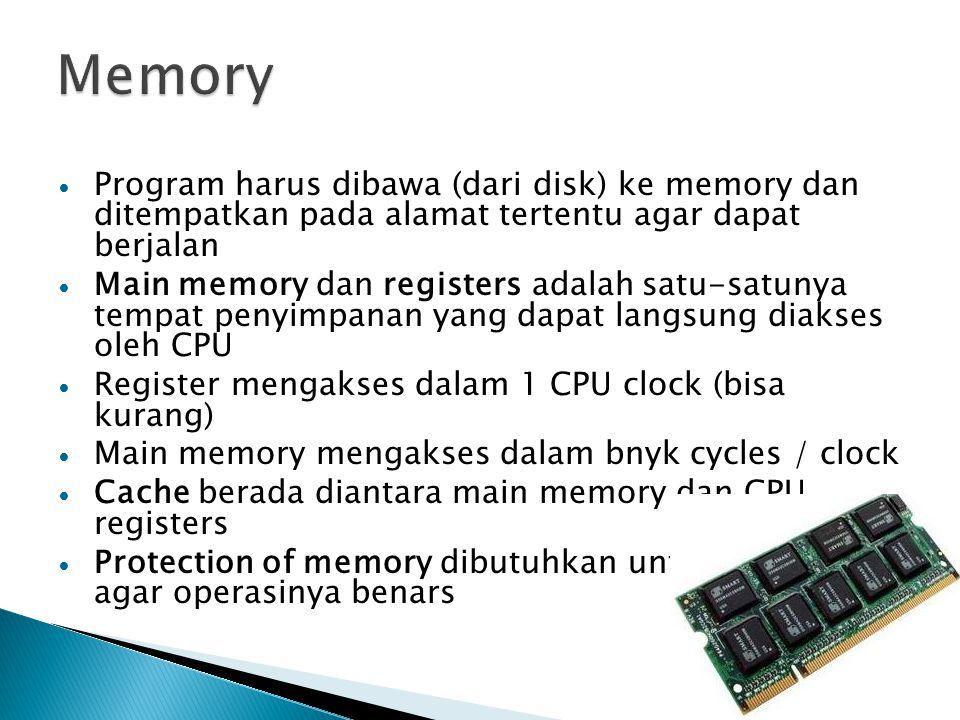 Memory Program harus dibawa (dari disk) ke memory dan ditempatkan pada alamat tertentu agar dapat berjalan.