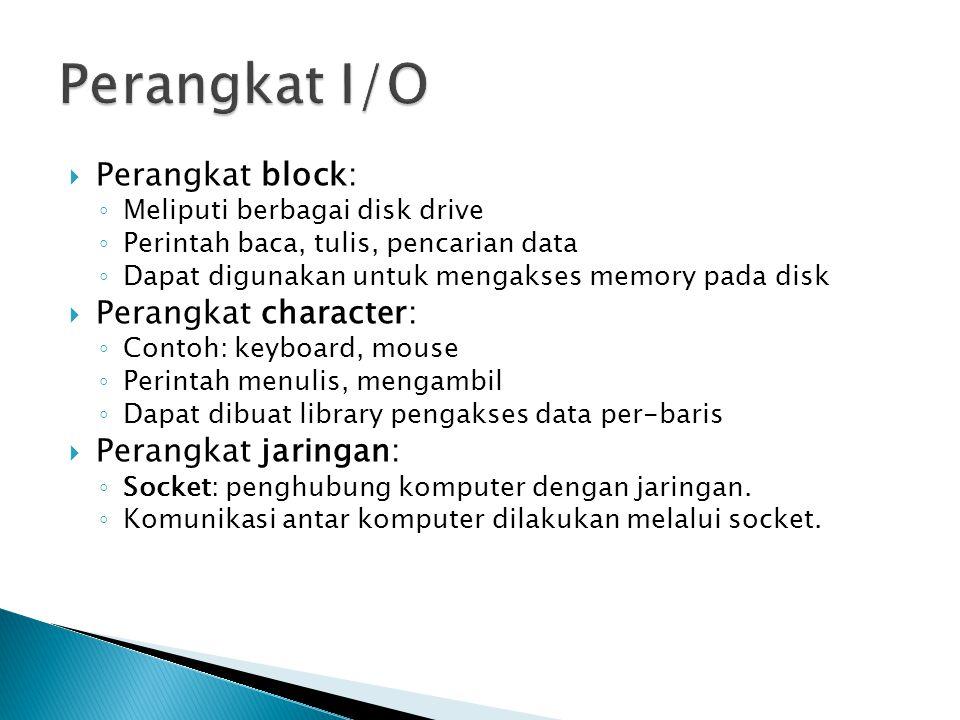 Perangkat I/O Perangkat block: Perangkat character: