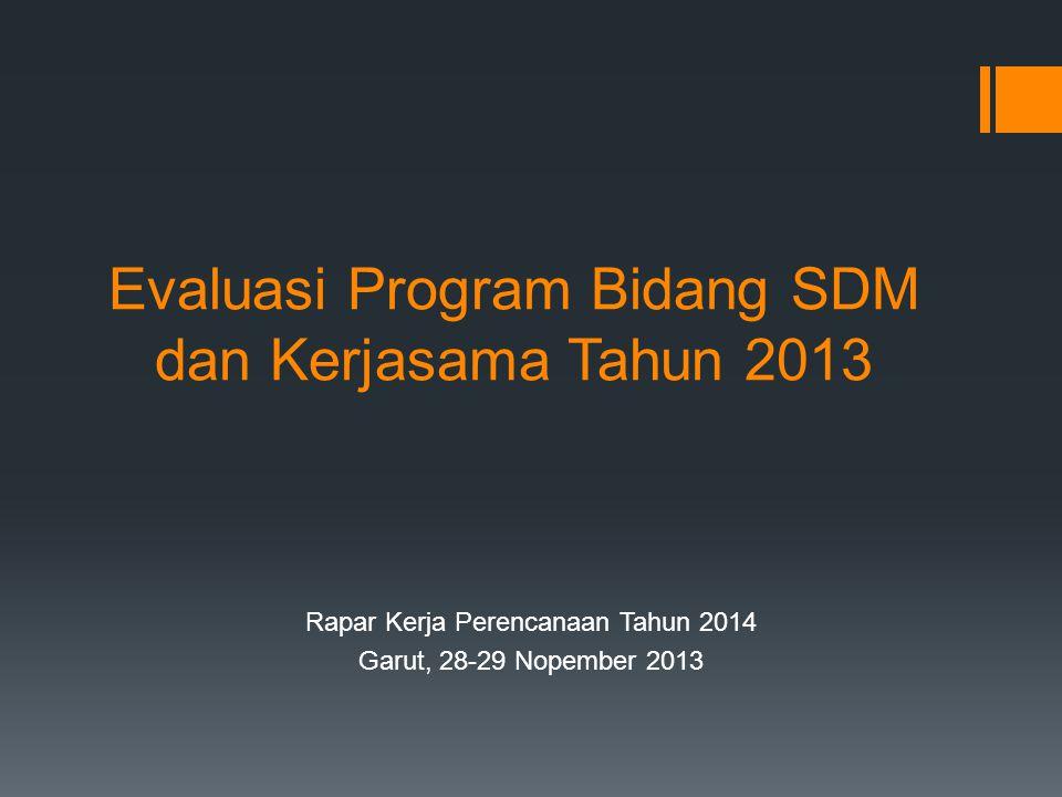 Evaluasi Program Bidang SDM dan Kerjasama Tahun 2013