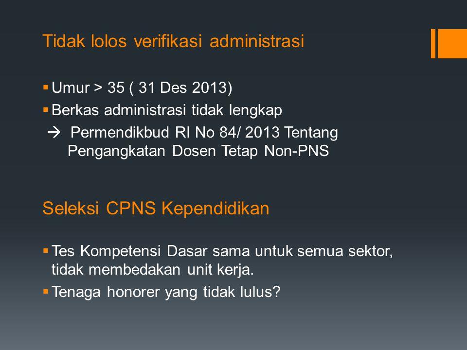 Tidak lolos verifikasi administrasi