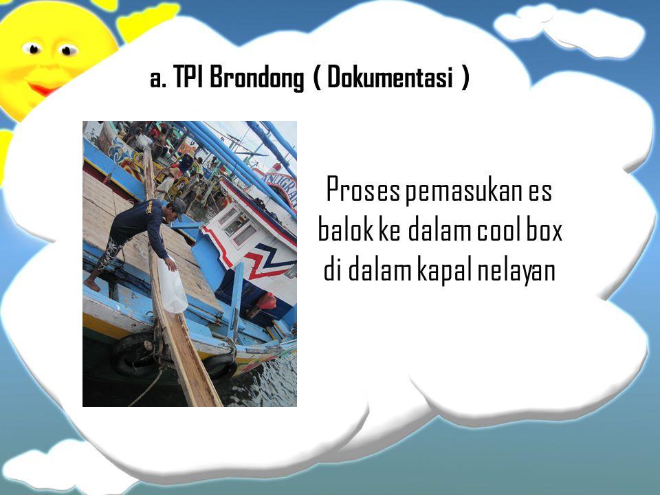 Proses pemasukan es balok ke dalam cool box di dalam kapal nelayan