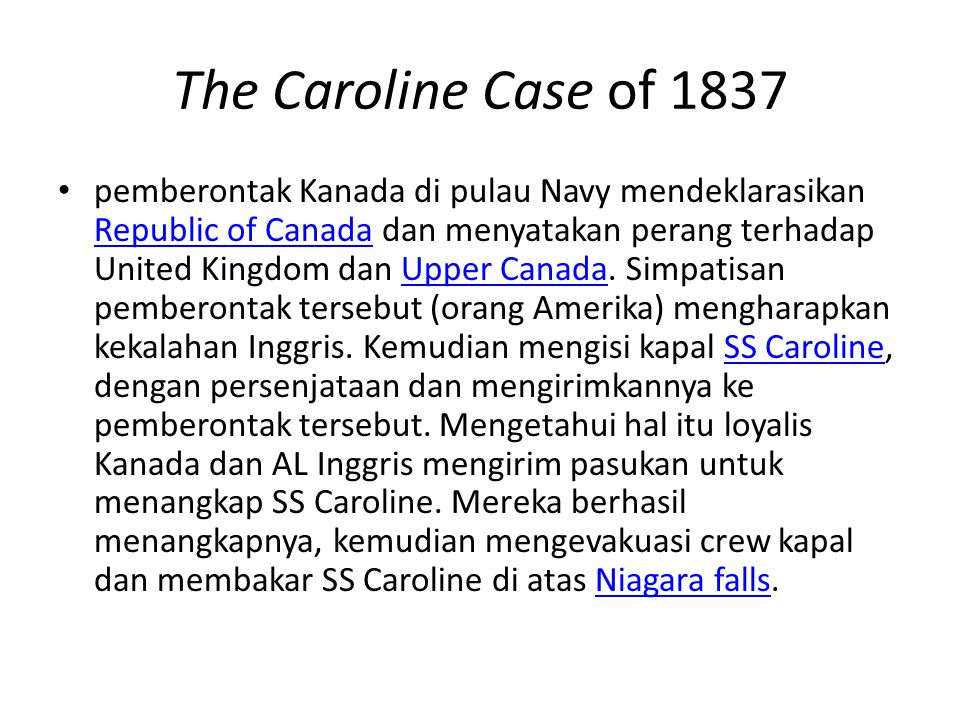 The Caroline Case of 1837