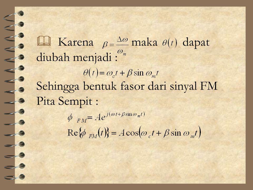Karena maka dapat diubah menjadi : Sehingga bentuk fasor dari sinyal FM Pita Sempit :