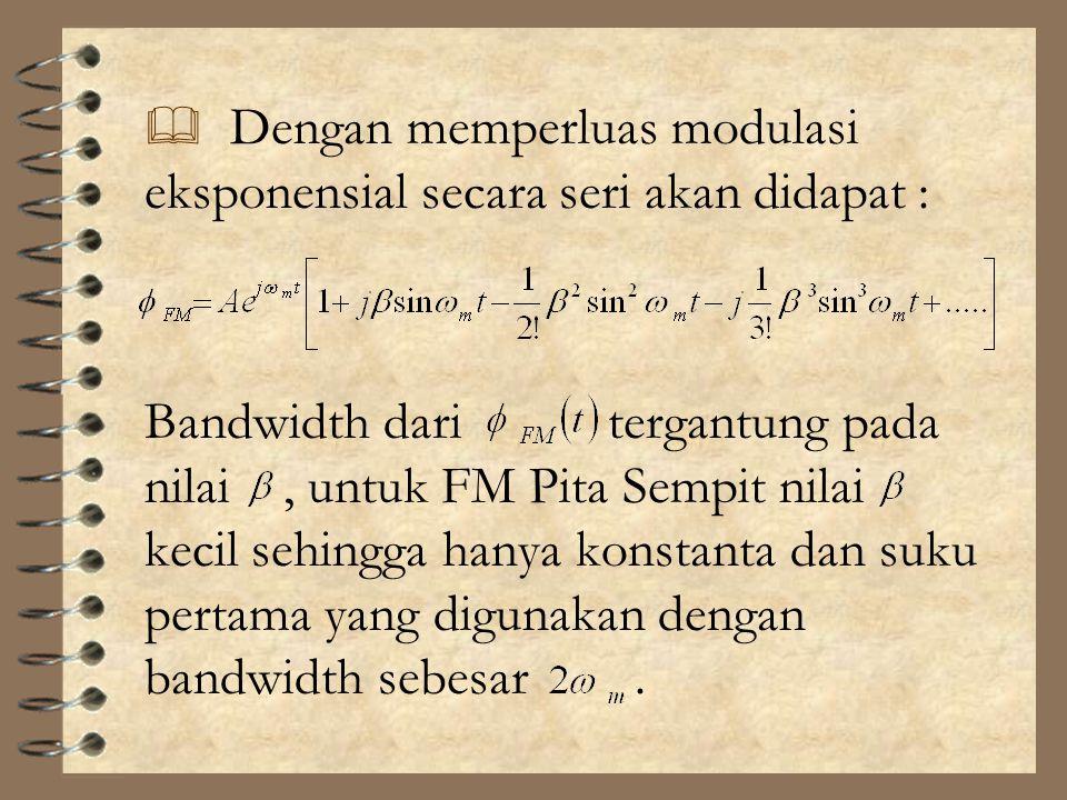 Dengan memperluas modulasi eksponensial secara seri akan didapat :