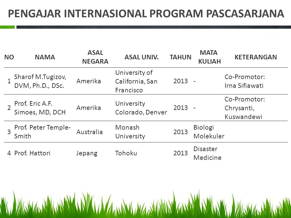 PENGAJAR INTERNASIONAL PROGRAM PASCASARJANA
